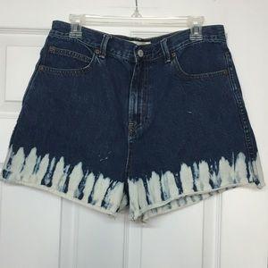 Gap super high rise dip dye bleach shorts tall